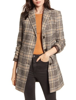 Plaid Button Front Coat by Maralyn & Me