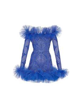 Beaded Pleated Trim Organza Mini Dress by Zuhair Murad