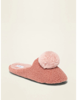 Sherpa Pom Pom Slippers For Women by Old Navy