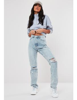 Light Blue Wrath High Waisted Distressed Jeans by Missguided