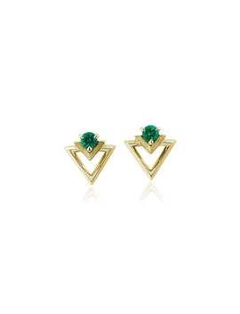 Geometric Emerald Earrings In 18k Yellow Gold (3.5mm) by Blue Nile