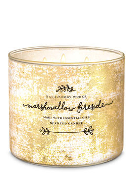 Marshmallow Fireside   3 Wick Candle    by Bath & Body Works