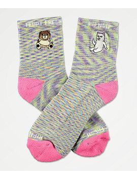 Ripndip X Teddy Fresh Lavender & Pink Speckled Crew Socks by Ripndip