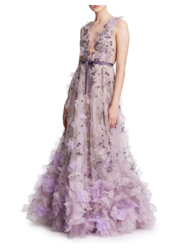 Tulle Plunging V Neck Gown by Marchesa