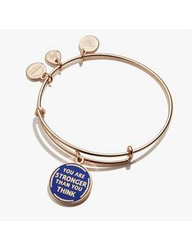 You Are Stronger Than You Think Charm Bangle Shiny Rose Gold by Alex And Ani