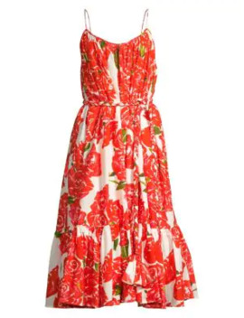 Lea Floral Midi Flounce Dress by Rhode