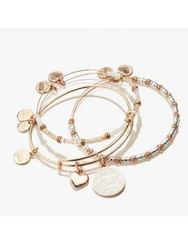 The Greatest Gift Is Family And Star Duo Charm Bangle Set Of 3 Shiny Rose Gold by Alex And Ani