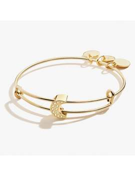 Pave Crystal Moon Symbol Bead Charm Bangle Shiny Gold by Alex And Ani