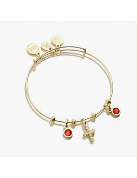 Cross And Crystal Multi Charm Bangle Shiny Gold by Alex And Ani