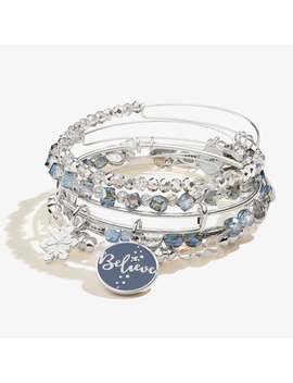 Believe And Snowflake Duo Charm Bangle Set Of 5 Shiny Silver by Alex And Ani
