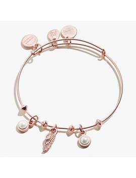 Angel Wing And Pearl Multi Charm Bangle Shiny Rose Gold by Alex And Ani