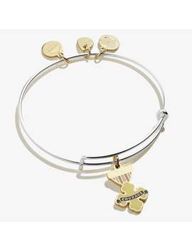 Wizard Of Oz Courage Charm Bangle Two Tone Shiny Gold by Alex And Ani