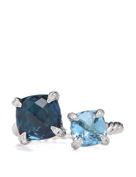 David Yurman Sterling Silver Hampton Blue Topaz Diamond Bypass Châtelaine Bypass Ring 54 7 by David Yurman