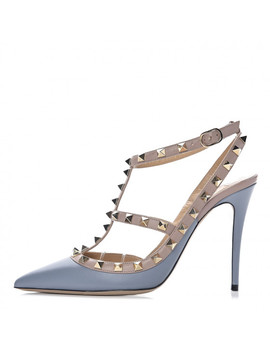 Valentino Nappa Rockstud Ankle Strap Pumps 38 Stone Poudre by Valentino