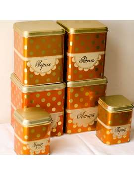 Set Of 6 Polka Dot Box Kitchen Canisters Metal Tin Box Soviet Era Food Storage Solutions by Etsy