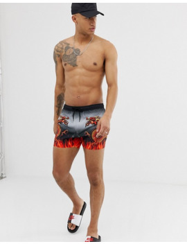 Asos Design Swim Short With Dragon Placement Print In Short Length by Asos Design