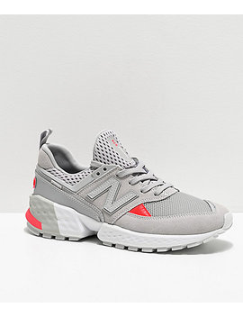 New Balance Lifestyle 574 Sport Rain Cloud & Energy Red Shoes by New Balance