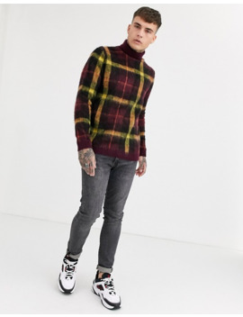 Asos Design Knitted Sweater With Roll Neck In Burgundy Check by Asos Design