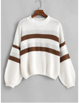 Lantern Sleeve Stripes Pullover Sweater   White by Zaful