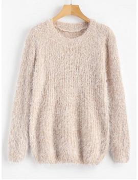 Crew Neck Plain Fluffy Sweater   Cornsilk by Zaful