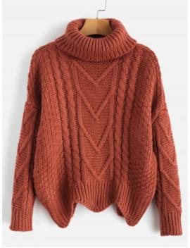 Chunky Knit Turtleneck Sweater   Chestnut Red by Zaful