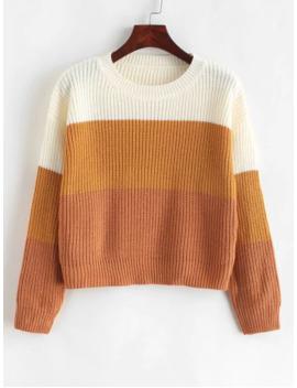 Zaful Color Block Striped Sweater   Multi G by Zaful