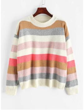 Pullover Stripes Color Block Crew Neck Sweater   Multi by Zaful