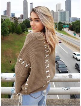 Zaful X Yasmine Bateman Lace Up V Neck Open Knit Sweater   Dark Khaki L by Zaful