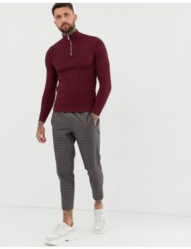 Asos Design Muslce Fit Waffle Textured Sweater In Burgundy by Asos Design