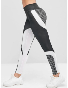 Two Tone Honeycomb Workout Gym Leggings   Black L by Zaful