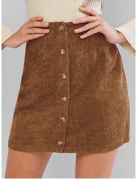 Zaful Corduroy Button Fly High Rise Skirt   Chestnut M by Zaful