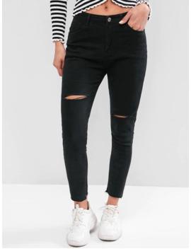 Raw Hem Skinny Distressed Jeans   Black M by Zaful