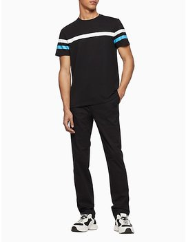 Regular Fit Colorblock Stripe Crewneck T Shirt by Calvin Klein