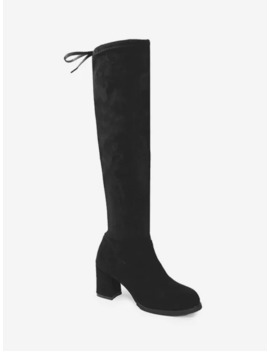 Faux Suede Chunky Heel Thigh High Boots   Black Eu 40 by Zaful