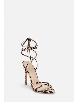 Leopard Pointed Toe Lace Up Barely There Heels by Missguided