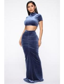 Kimmy Velvet Skirt Set   Indigo by Fashion Nova