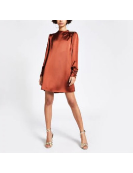Brown Button Shoulder Satin Swing Dress by River Island