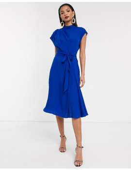 Asos Design High Neck Grown On Sleeve Skater Midi Dress by Asos Design