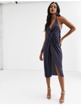 Asos Design Halter Neck Drape Waist Midi Dress In Satin by Asos Design