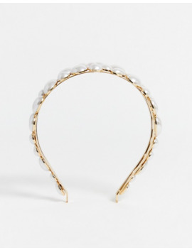 Asos Design Headband With Pearl Embellishment In Gold Tone by Asos Design