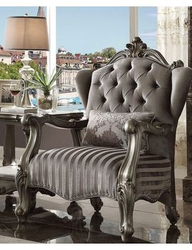 Acme Versailles Chair With 1 Pillow In Velvet And Antique Platinum Finish 56847 by Acme Furniture