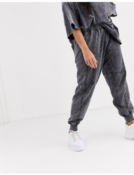 Public Desire Curve Relaxed Tracksuit Bottoms In Acid Wash Two Piece by Public Desire