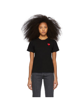 Black & Red Heart Patch T Shirt by Comme Des GarÇons Play