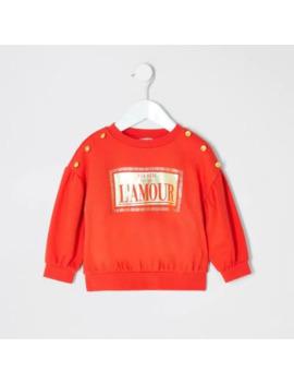 Mini Girls Red Printed Sweatshirt by River Island