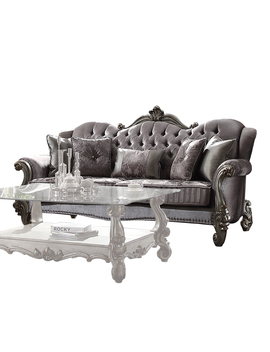 Acme Versailles Sofa With 5 Pillows In Velvet & Antique Platinum by Acme Furniture