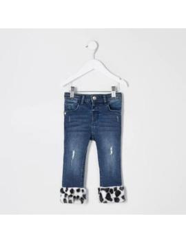 Mini Girls Blue Faux Fur Hem Jeans by River Island