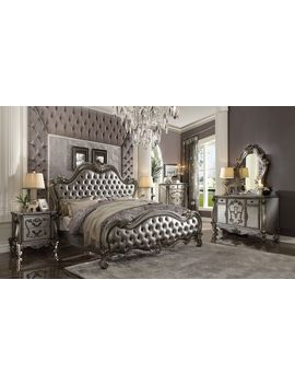 Acme Versailles Ii Queen Bed In Silver And Antique Platinum Finish 26840 Q by Acme Furniture