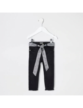 Mini Girls Black Ripped Molly Belted Jeggings by River Island