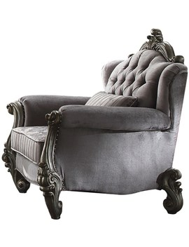 Acme Versailles Chair With 1 Pillows In Velvet And Antique Platinum 56842 by Acme Furniture