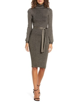 Shine Bright Long Sleeve Metallic Sweater Dress by Ali & Jay